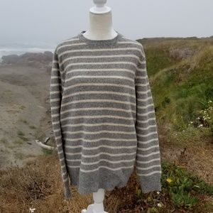 J. Crew Striped Lambswool Elbow Patch Sweater